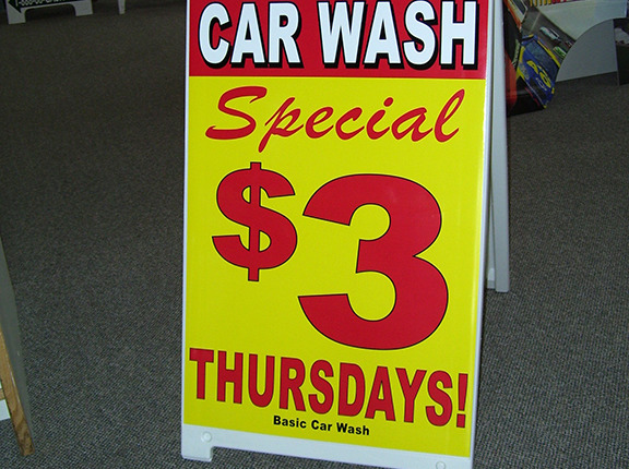Get your message out at your Car Wash with a sidewalk a-frame sign in Spokane Valley