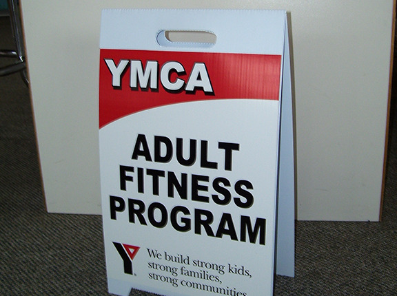 The YMCY loves these lightweight corrugated coro a-frame signs for directing kids and using near the pool in Spokane and Spokane Valley