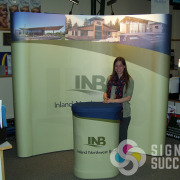Inland Northwest Bank uses this great backdrop popup display for trade shows and events, by Signs for Success in Spokane