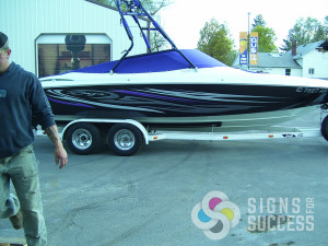 This customer wanted tribal graphics boat wrap similar to Baja boats, but colors to match his new boat cover and upholstery, with a little flair, in Spokane and Deer Park