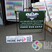 Yard sign on rod a-frame sidewalk sign and 6x24 rider for hanging on realtor real estate signs in Spokane and Deer Park