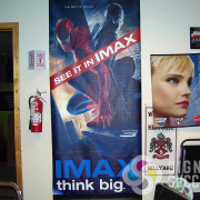 Banner for New Spiderman movie at the IMAX at Riverfront Park Theater in Spokane