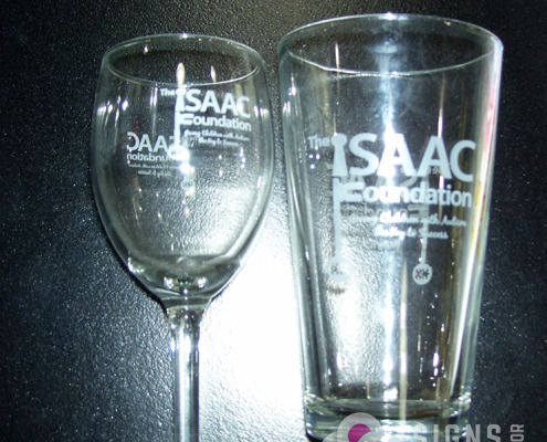 The Isaac Foundation provides glassware, wine glasses, and beer glasses with custom logo on both sides. They are so pretty in real life, the photo doesn't do them justice.