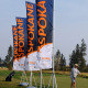 Spokane Sports Commission can use these Mondo feather flag banners indoors or outdoors, and they look great by Signs for Success, outdoor banner stands cheney