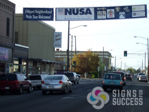 Show community pride and give credit to your sponsors with a Street Banner