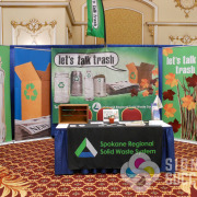 Trade Shows are more fun and your booth is more attractive with popup display for background, Signs for Success can help now with your event signage needs