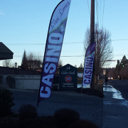 Feather or Teardrop banners for Lilac Lanes Casino in Spokane done fast by Signs for Success, call now for free quote