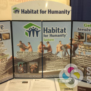 Signs for Success designed, and printed this easily changed, folding table top display for Habitat for Humanity, Spokane and Spokane Valley