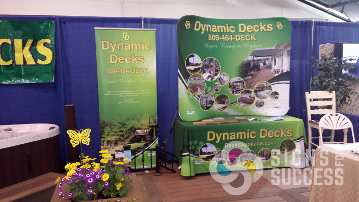 With a custom table throw, tablecloth, popup display, and retractable banner stand, Dynamic Decks Spokane is ready for any size trade show or event, trade show table covers