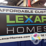 Affordable Custom Lexar Homes sign for tradeshow display, simple or complex, Signs for Success can get it done fast in Spokane for you now