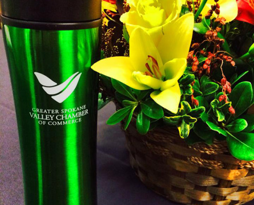 When Spokane Valley Chamber asked for custom stainless bottles for showing their new logo and branding, Signs for Success helped them with their promotional products spokane