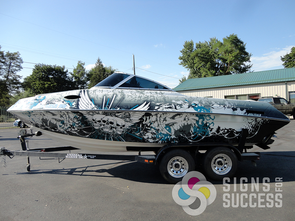 Barbed Wire Custom Boat Wrap Design Signs For Success - Barb wire custom vinyl decals for trucks