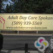 Adding logo name signs to posts or to the wall, like many we did for Adult Day Care Spokane, helps with finding your business and is great advertising