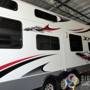 Camping World provided this graphics package of decals for trailer RV Motorhome, Signs for Success has certified installers to do install