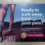 Hospitals, Convention Center, Event Centers can Advertise on the floor with vinyl that contours to the tile, like these at Spokane Valley Hospital for Allegra