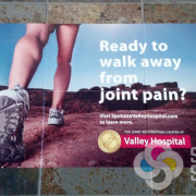 Signs for Success can help with Advertisingon the floor with vinyl that contours to the tile, like these at Spokane Valley Hospital for Allegra