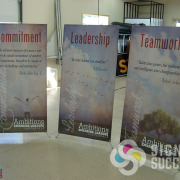 Banner stands done in a hurry, now, fast, by Signs for Success in Spokane, fabric banners