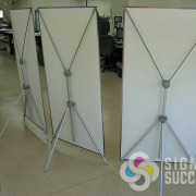 You can use banner material, anti-curl banner, tyvek, or even canvas for banner stands like these, easily change your banner for new event or promotion