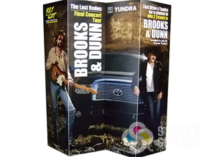 This temporary back wall signs for Brooks & Dunn concert advertisement at Spokane Tradeshow is made of foamcore, but could easily be a banner or other substrate