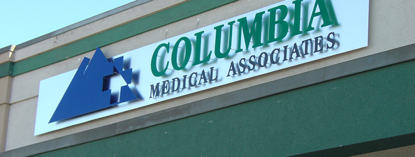 Add your name in dimensional lettering to the fascia or wall of your building for a unique look like this one for Columbia Medical Associates in Spokane, call Signs for Success now for fast service