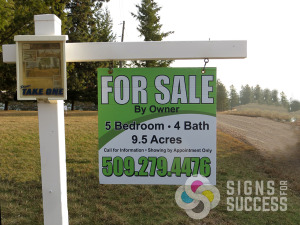 Realtors and homeowners can get a great sign at affordable prices, even just for one from Signs for Success Spokane