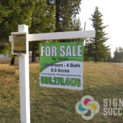For Sale By Owner real estate sign with brochure box on sign post, real estate sign spokane valley