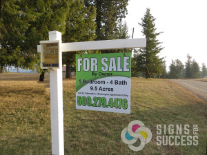 For Sale By Owner real estate sign with brochure box on sign post, real estate signs spokane valley
