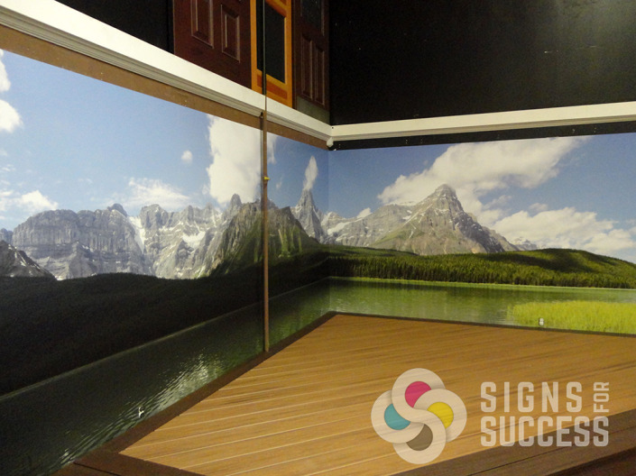 Spokane Country Homes Building Supply added this beautiful landscape mural to their wall for a wall wrap that is totally relaxing, by Signs for Success