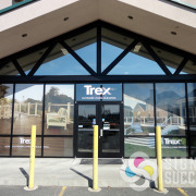 Advertising Trex decking materials, County Homes Building Supply, Spokane used Signs for Success to add perforated window film to wrap their front windows, looks great