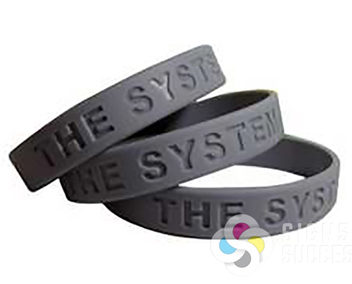 Silicone embossed wristbands come in almost any color or color combination you can suggest, give Signs for Success a call for your next bracelet order