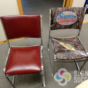Turn your boring office chairs into personalized chairs for the boardroom or breakroom, custom printed, tested, rated heavy duty, marine grade vinyl fabric by Signs for Success