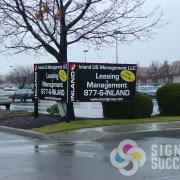 This V-Shaped Leasing sign for a strip mall in Spokane held up for years, Done quick by Signs for Success