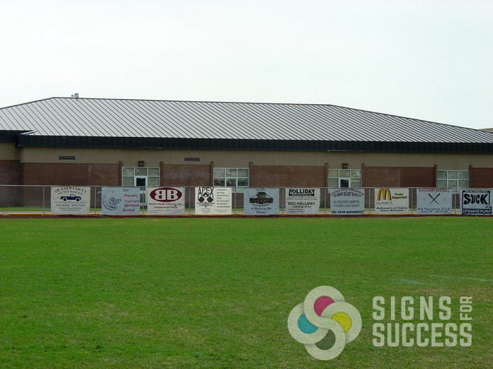 Increase your School's sports budget by selling valuable fence space to sponsors and put up large banners, by Signs for Success in Spokane and Cheney