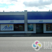 Add perforated or solid vinyls to cover windows like Accent Stove & Spa on Division in Spokane, by signs for Success many years ago, it lasted a long time