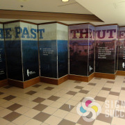 Temporary wall dividers can be decorated with mural like these of the past and future for Spokane Tribe of Indians, by BHW1 & Signs for Success Spokane