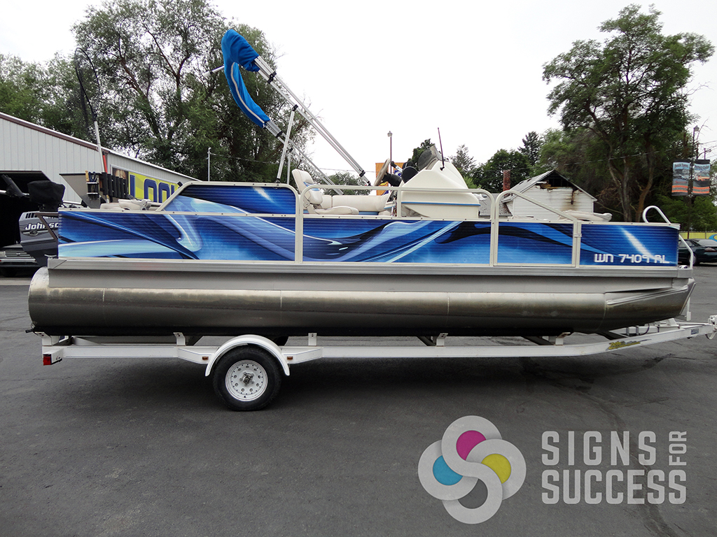 Pontoon Boat Wrap Signs For Success - Vinyl boat graphics decals