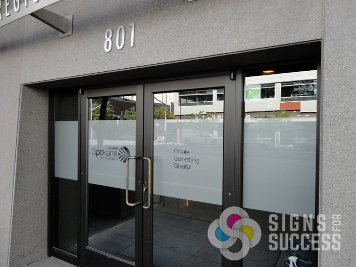 environmental graphics, Add etched glass, sandblasted look, bands for privacy or just to give your office windows or store windows a unique look, Spokane, window decals spokane