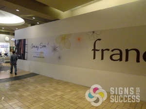 Northtown mall did a build out for Francesca's and wanted everyone to know the exciting new tenant opening soon, Spokane wall wrap, wall wraps