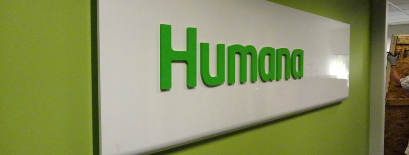 This dimensional lobby sign for Humana Spokane was mounted on the Board Room wall by Signs for Success, where we can install your provided letters, or provide them for you