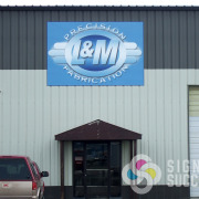 large panels wall sign for L&M Precision Fabrication looks great on ACM, above door in Medical Lake, Spokane, Spokane Valley Signs for Success