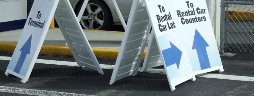 Temporary signs for Rental lot at Spokane International Airport by Signs for Success in Cheney and Medical Lake