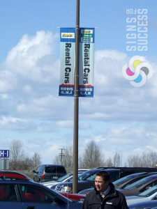 Pole banners can be used for wayfinding also like at Spokane International Airport in Airway Heights