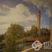 Love the landscape of Spokane with the Riverfront Park Clock Tower and the Expo ride historic view with this wallpaper mural of Spokane