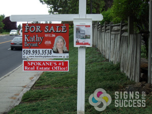 Realtor Real Estate sign for Keller Williams on Spokane with rider, grommets added, printed by Signs for Success on coro