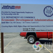 Federal US Department of Commerce site sign on posts in Cheney by Signs for Success in Spokane