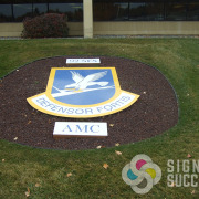 This dimensional shaped shield is not on a wall, but it could be very easily, Fairchild Air Force Base wanted to update their old one, Signs for Success recreated, vector, printed, installed this great sign