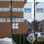 Signs for Success printed these pole banners for Global Credit Union in Spokane and Liberty Lake
