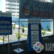 Wayfinding signs and banner for Veterans Wheelchair Games in Spokane, made it easy for the athletes and their families