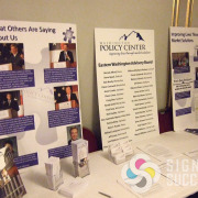 Table top posters, paper or foamcore for Washington Policy Center by Signs for Success in Spokane for annual dinner, foam core posters