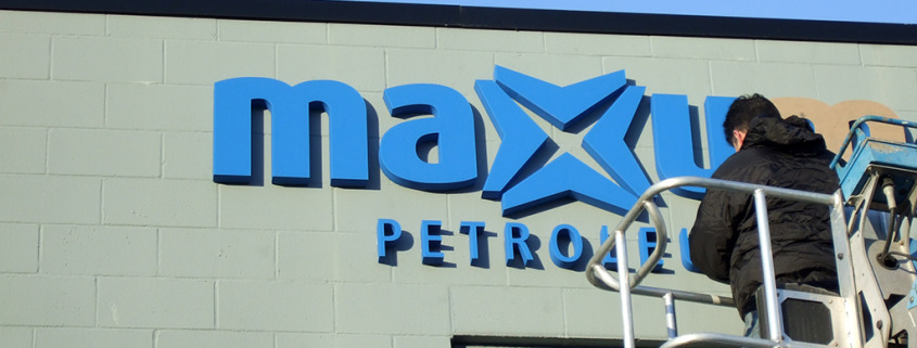 Maxum Petroleum Sign Installation your lettering is something Signs for Success can do, Give us a call for a quote, whether you need us to provide the letters or you can send them to us, Spokane, call now for fast instant sign service